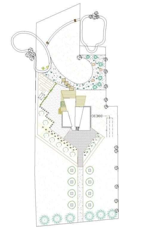 taimekatusega postmodernlistliku maamaja aiaplaan